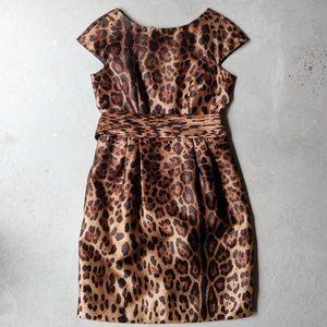 Per Se   100% Silk Cap Sleeve Leopard Dress Size 2
